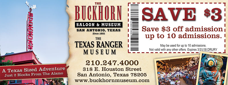 San Antonio Vacation Savings Coupon - Save $3 off admission at the Buckhorn Saloon & Museum
