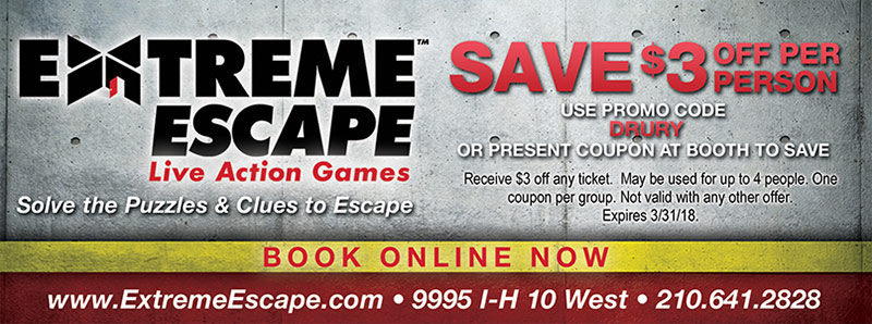 San Antonio Vacation Savings Coupon - Save $3 off per person at Extreme Escape with promo code DRURY