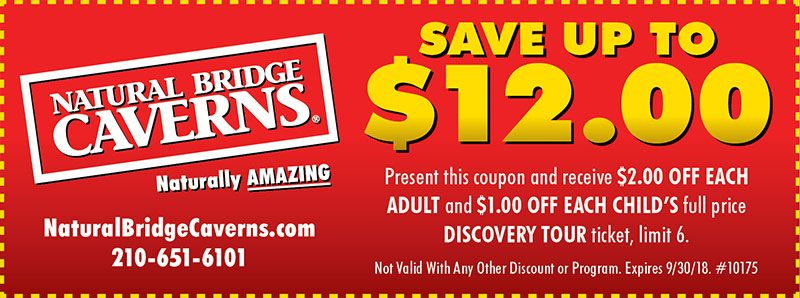 San Antonio Vacation Savings Coupon - Save up to $12.00 at Natural Bridge Caverns