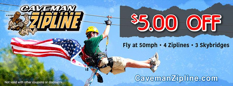 St. Louis Vacation Savings Coupon - $5 off at Caveman Zipline