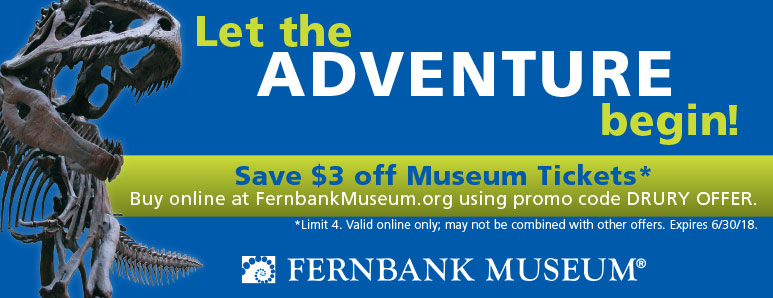 Atlanta Vacation Savings Coupon – $3 off museum tickets at the Fernbank Museum with promo code DRURY OFFER