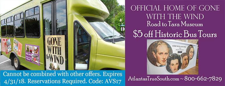 Atlanta Vacation Savings Coupon – $5 off historic bus tours at Road to Tara Museum with code AVS17