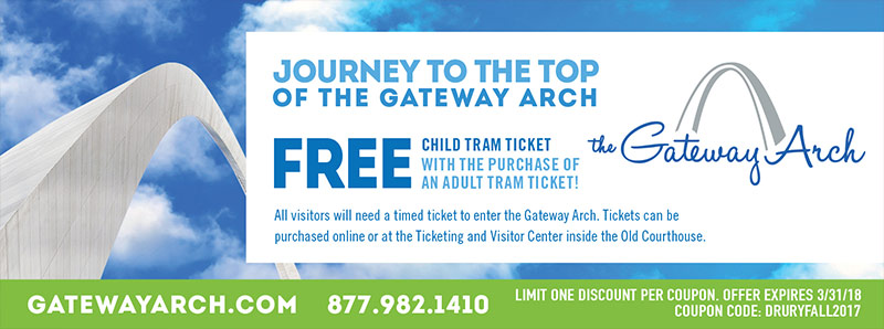 St. Louis Vacation Savings Coupon - Free child tram ticket with purchase of adult tram ticket at the Gateway Arch