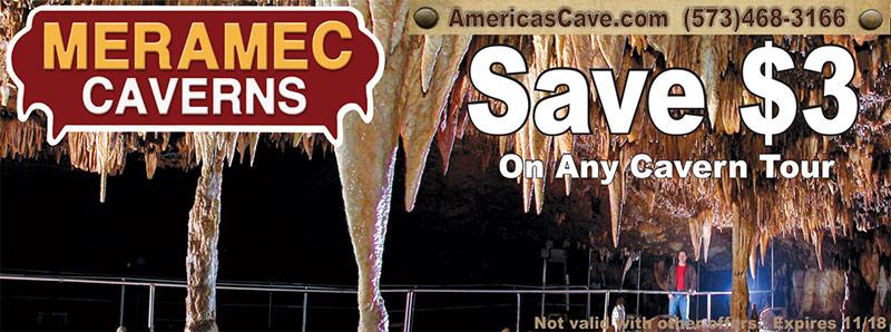 St. Louis Vacation Savings Coupon - Save $3 on any cavern tour at Meramec Caverns