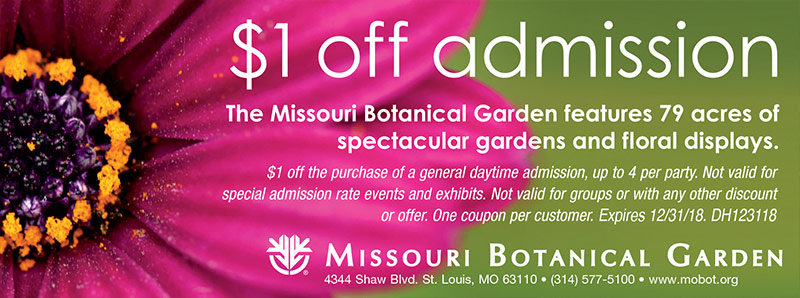 St. Louis Vacation Savings Coupon - $1 off admission at Missouri Botanical Garden