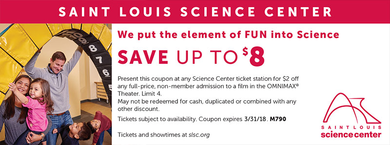 St. Louis Vacation Savings Coupon - Save up to $8 at Saint Louis Science Center