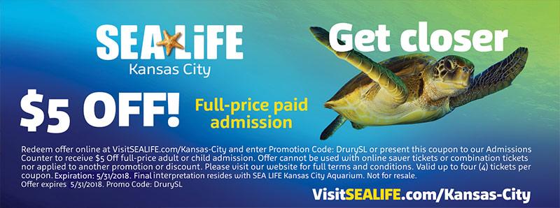 Kansas City Vacation Savings Coupon - $5 off full-price paid admission at Kansas City SEA LIFE Aquarium