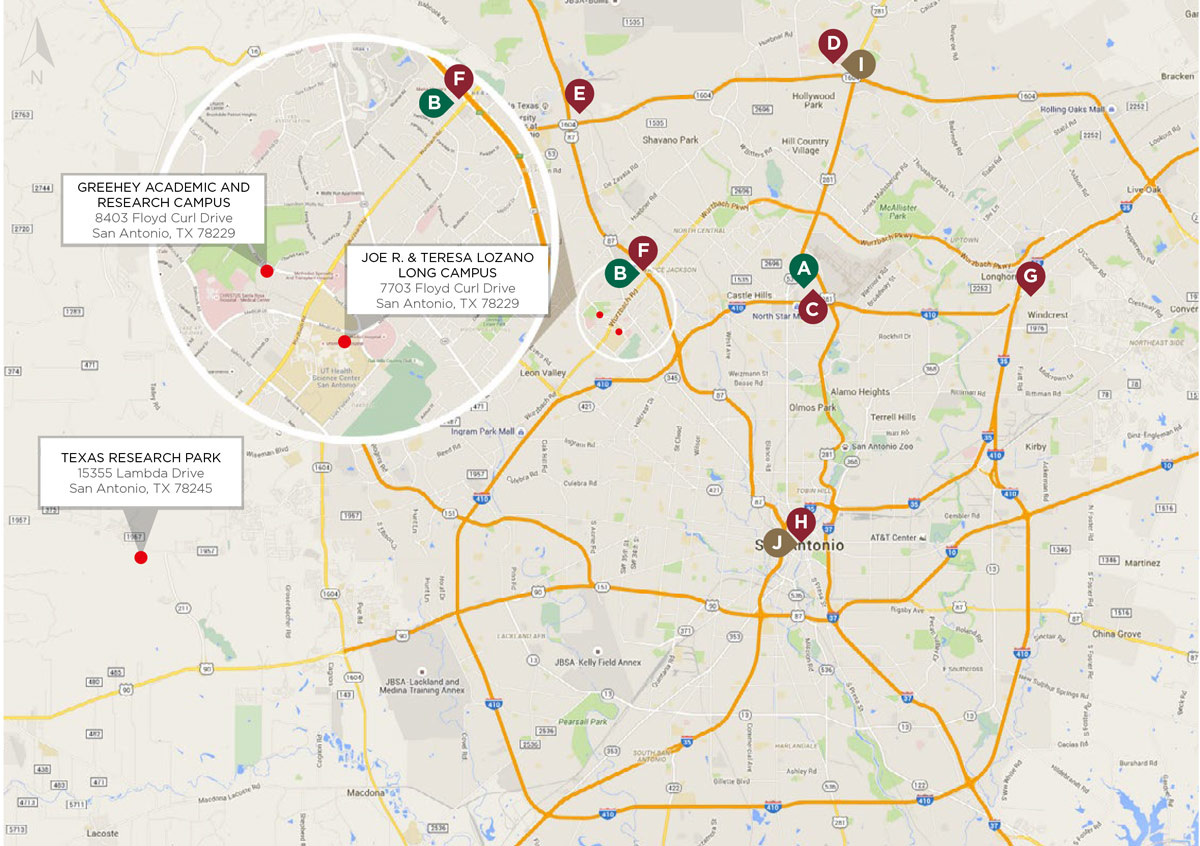 Map of Drury Hotels in San Antonio Texas