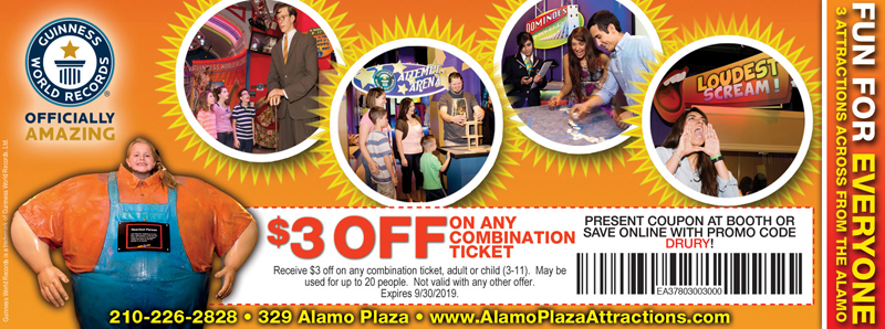 San Antonio Vacation Savings Coupon - $3 off any combination ticket at Guinness World Records with promo code DRURY
