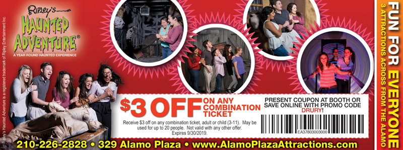 San Antonio Vacation Savings Coupon - $3 off any combination ticket at Ripley's Haunted Adventure with promo code DRURY