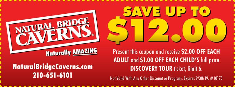 San Antonio Vacation Savings Coupon - Save up to $12.00 at Natural Bridge Caverns