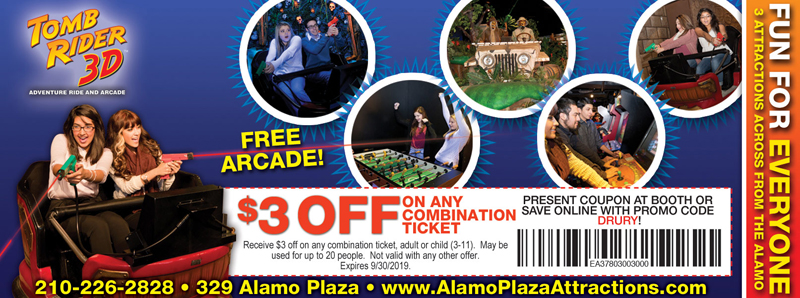 San Antonio Vacation Savings Coupon - $3 off any combination ticket at Tomb Rider 3D with promo code DRURY
