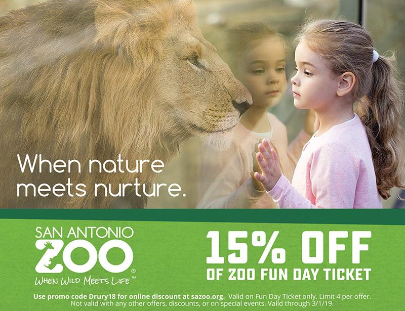 San Antonio Vacation Savings Coupon – 15% off of Zoo Fun Day ticket at San Antonio Zoo