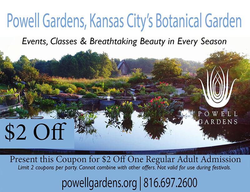 Kansas City Vacation Savings Coupon - $2 off one regular adult admission at Powell Gardens, Kansas City's Botanical Garden