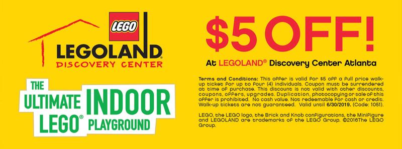 Atlanta Vacation Savings Coupon – $5 off at LEGOLAND Discovery Center Atlanta