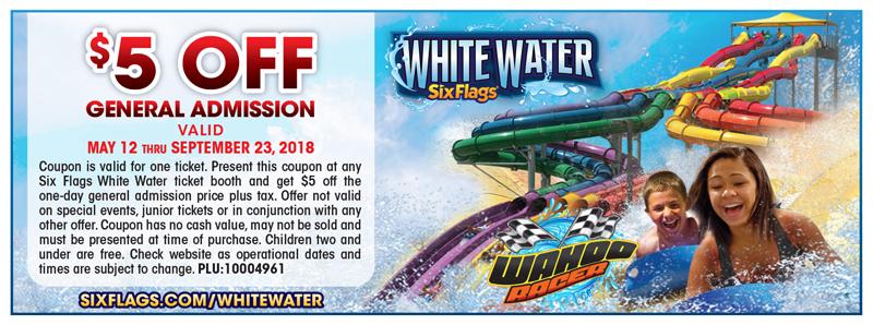Atlanta Vacation Savings Coupon – $5 off general admission at Six Flags White Water