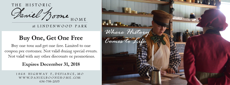 St. Louis Vacation Savings Coupon - Buy one tour and get one free at the Historic Daniel Boone Home