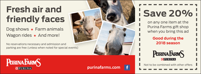 St. Louis Vacation Savings Coupon – Save 20% on any one item at the Purina Farms gift shop during the 2018 season