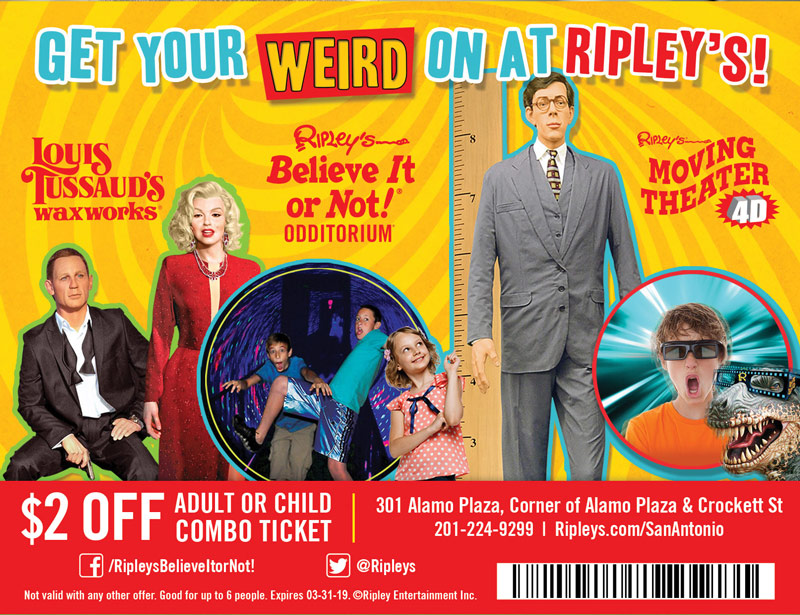 San Antonio Vacation Savings Coupon - $2 off adult or child combo ticket at Ripley's