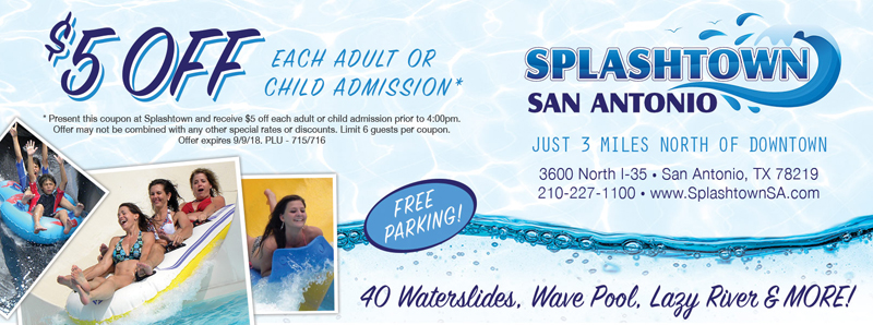 San Antonio Vacation Savings Coupon – $5 off each adult or child admission at Splashtown San Antonio