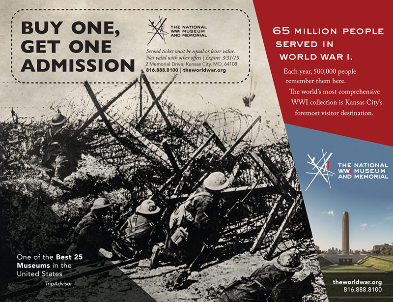 Kansas City Vacation Savings Coupon - Buy one, get one admission at the National WWI Museum and Memorial