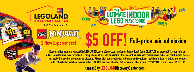 Kansas City Vacation Savings Coupon - $5 off full-price paid admission at LEGOLAND Discovery Center Kansas City