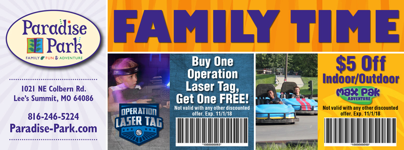 Kansas City Vacation Savings Coupon – Buy one operation laser tag and get one free or $5 off Max Pak Adventure at Paradise Park