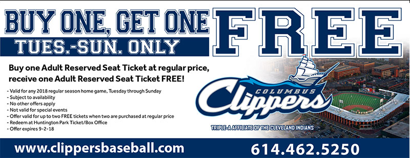 Columbus Vacation Savings Coupon – Buy one Columbus Clippers Baseball ticket, get one free