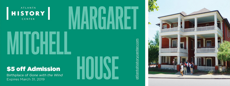 Atlanta Vacation Savings Coupon – $5 off admission at the Margaret Mitchell House