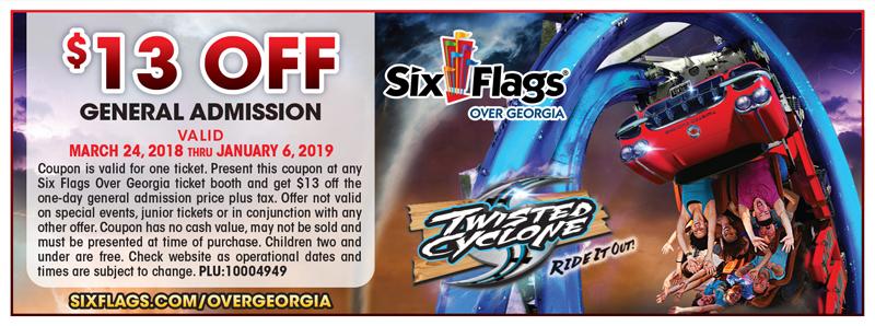 Atlanta Vacation Savings Coupon – $13 off general admission at Six Flags Over Georgia
