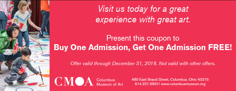 Columbus Vacation Savings Coupon – Buy one admission, get one free at the Columbus Museum of Art