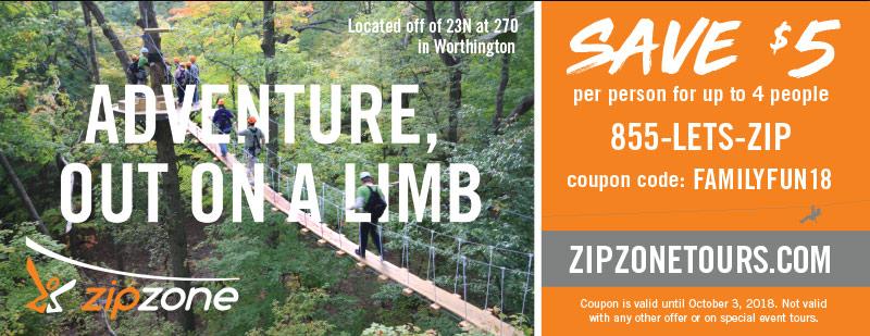 Columbus Vacation Savings Coupon – Save $5 per person at Zip Zone Tours