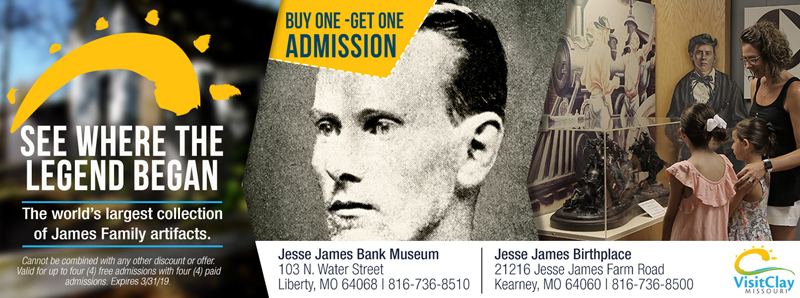 Kansas City Vacation Savings Coupon - Buy one, get one admission for the world's largest collection of James Family Artifacts