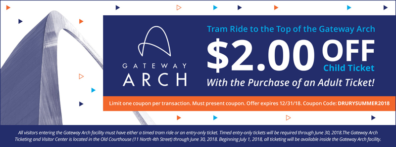 St. Louis Vacation Savings Coupon - $2.00 off child ticket for tram ride to the Top of the Gateway Arch with the purchase of an adult ticket
