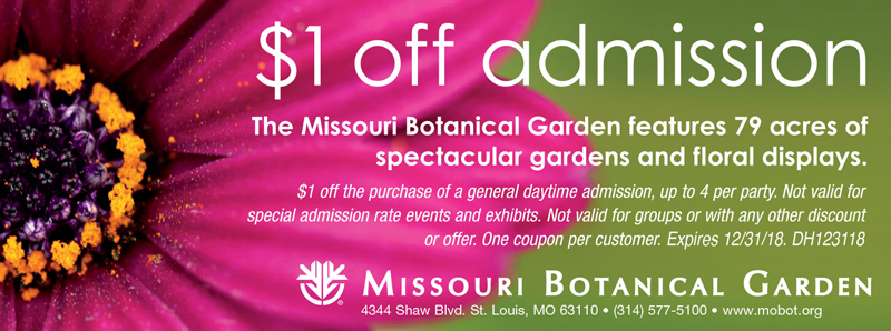 St. Louis Vacation Savings Coupon - $1 off admission at Missouri Botanical Garden