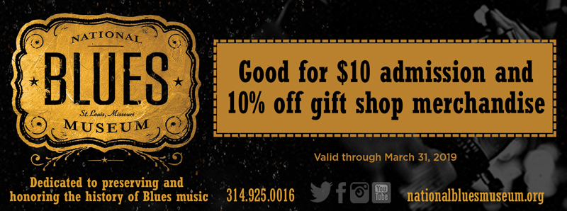 St. Louis Vacation Savings Coupon - $10 admission and 10% off gift shop merchandise at National Blues Museum