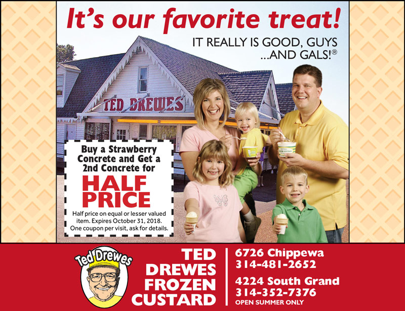 St. Louis Vacation Savings Coupon – Buy a strawberry concrete and get a second concrete for half price at Ted Drewes