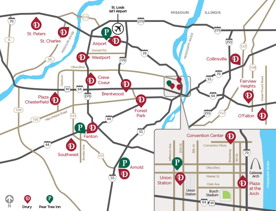 Map of St. Louis Drury Hotels